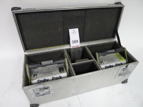 2 Cine Power Dolly Pack Nickel Cadmium Block Batteries with Charger and Flight Case
