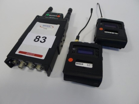 Sony DWR-SO2D Wireless Receiver and 2 Sony DWT -BO1 Wireless Bodypack Transmitters